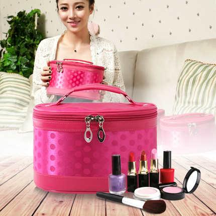 雾花 新款女包 韩国圆点可爱专业化妆包  大容量化妆箱 桶包邮